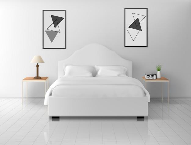 Интерьер спальни, дома или гостиницы пустует квартира Бесплатные векторы