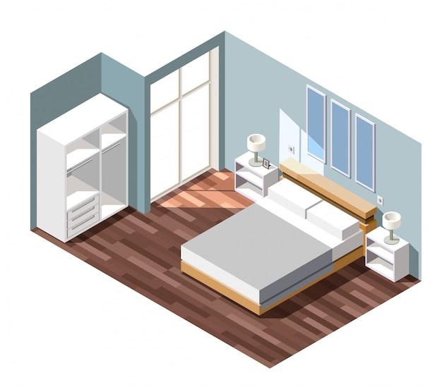 Bedroom interior isometric scene Free Vector
