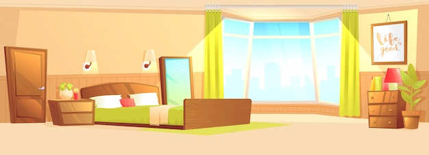 Bedroom interior modern flat with a bed, nightstand, wardrobe and window and plant. Free Vector