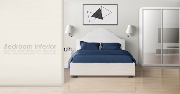 Bedroom interior in monochrome colors, modern home Free Vector