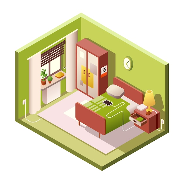 Bedroom isometric of modern small room interior\ with furniture in cross section.