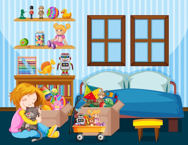 Bedroom scene with girl and cat on the floor Free Vector