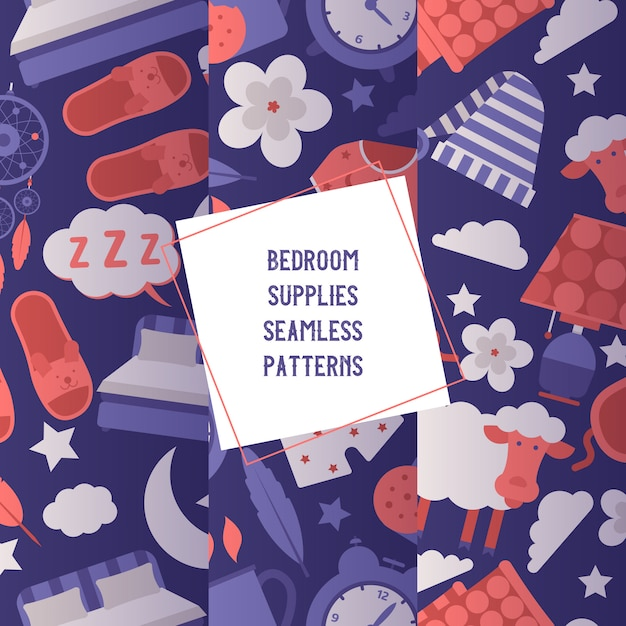 Bedroom supplies set of seamless patterns night equipment and clothing concept. sleeping mask and hat, pajama, clock, night light, cup of hot drink. Premium Vector