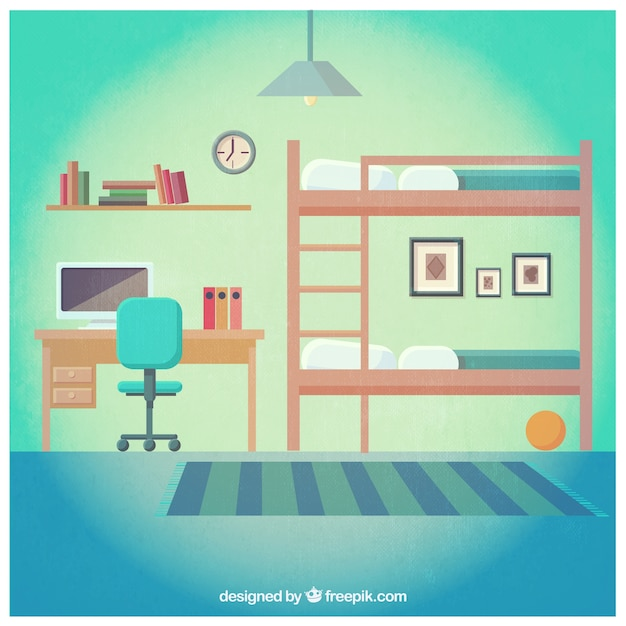 Bedroom With A Bunk Bed Vector