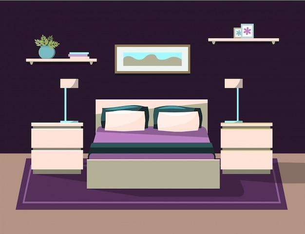 家具付きのベッドルーム Premiumベクター