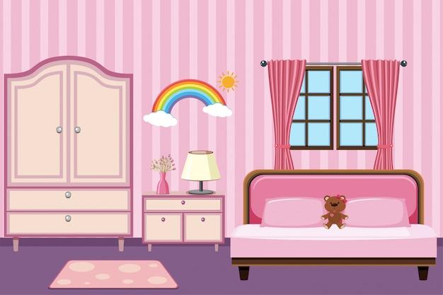 Bedroom with pink furniture Premium Vector