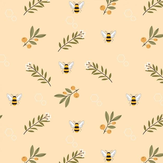 蜂と花の黄色の背景のシームレスパターン Premiumベクター