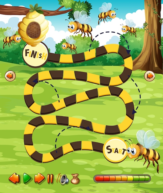 A bee board game template Premium Vector