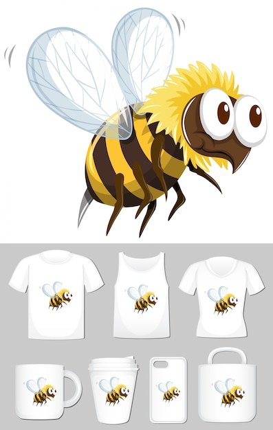 Bee on different product templates Free Vector