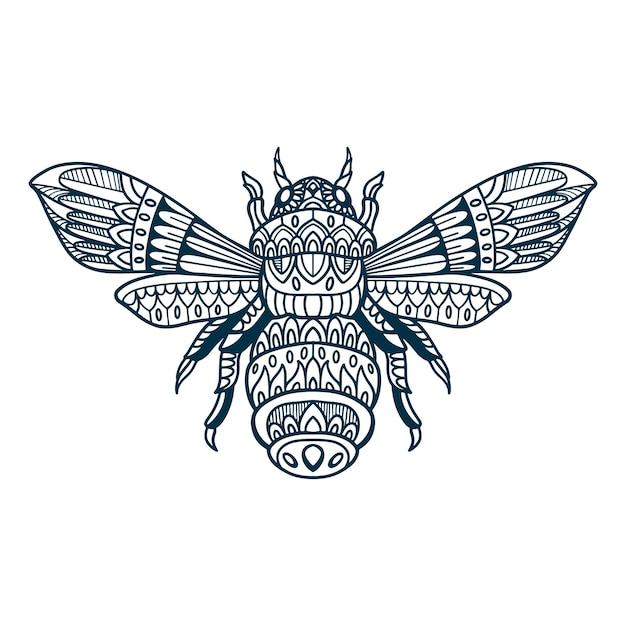 蜂の落書き手描き Premiumベクター