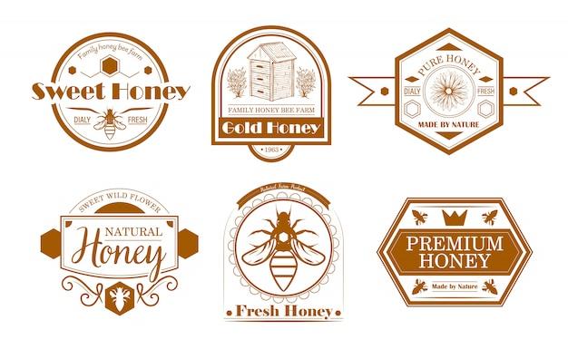 꿀벌 농장 레이블 설정 무료 벡터