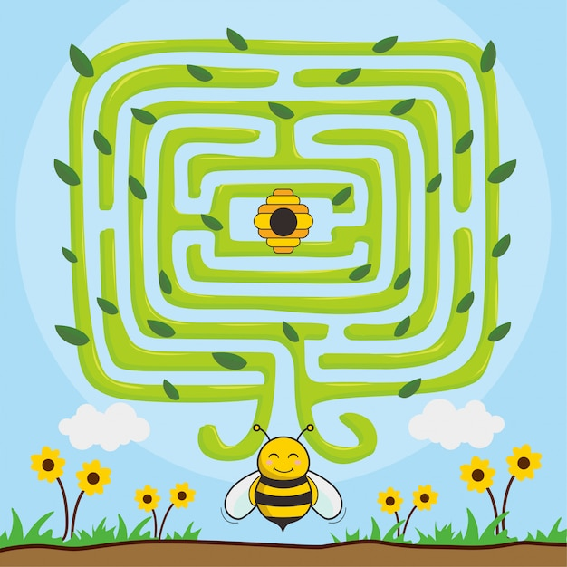 Игры лабиринт пчелы: найди меда Premium векторы