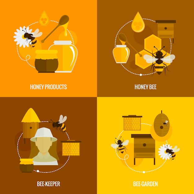 Bee honey elements composition flat set with products bee-keeper garden isolated vector illustration Free Vector