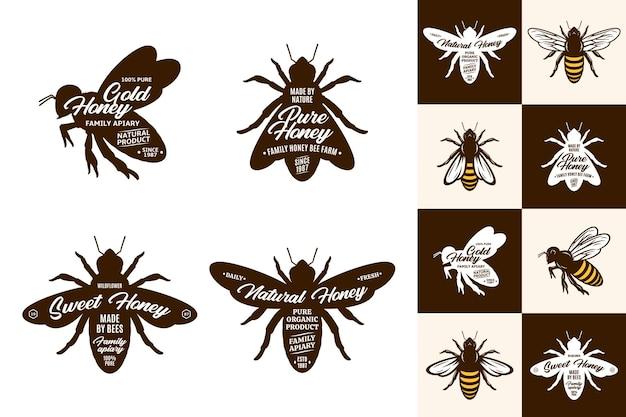 Пчелы иконки и коллекция логотипов на разных фонах Premium векторы