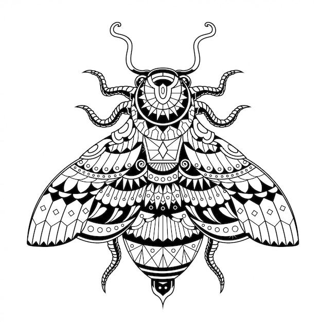 Bee illustration, mandala zentangle and tshirt design Premium Vector