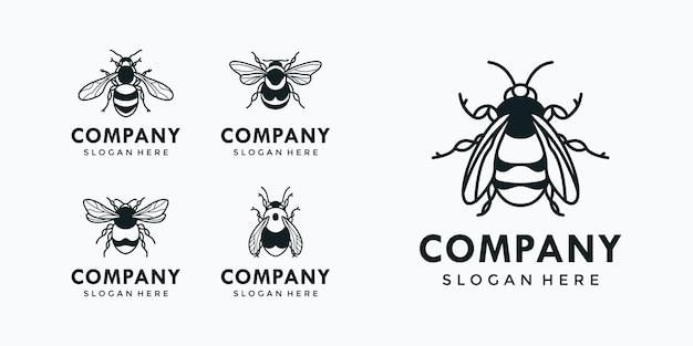 Bee logo collection Premium Vector