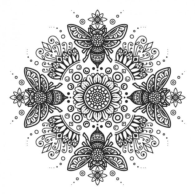 Premium Vector Bee Mandala Coloring Page