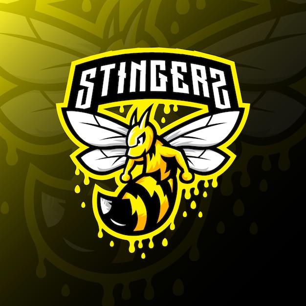 Bee mascot logo esport gaming illustration Premium Vector