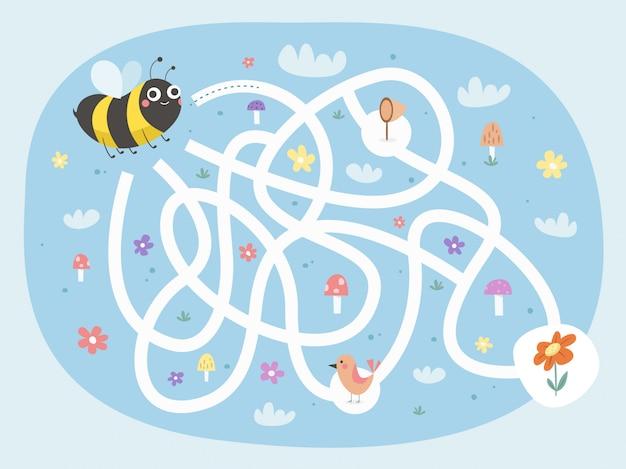 Bee maze game Premium Vector