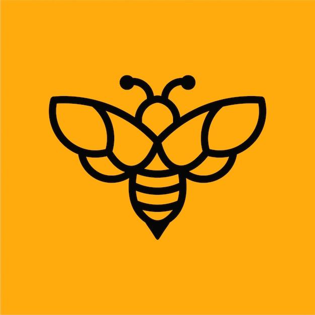 Bee minimalist vector logo Premium Vector