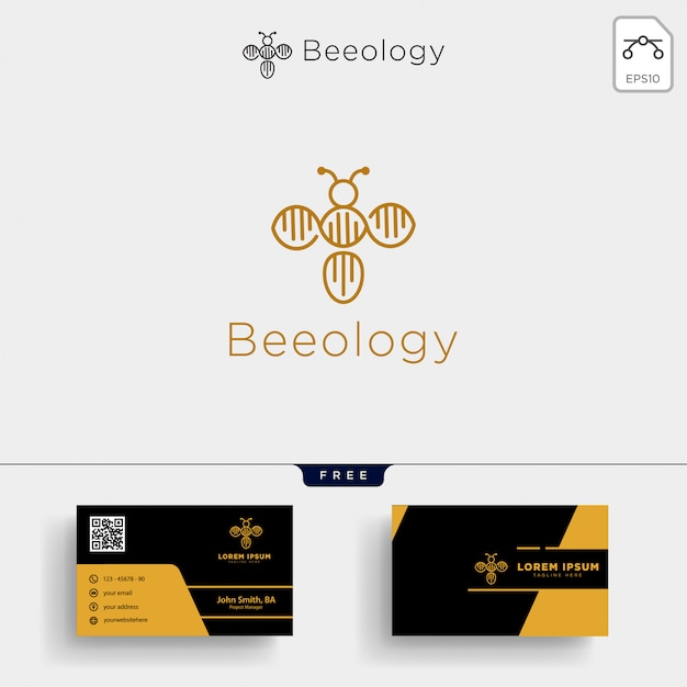 Bee molecular dna logo template and business card design Premium Vector