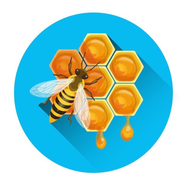 Пчела на сотовый значок пасеки векторная иллюстрация Premium векторы