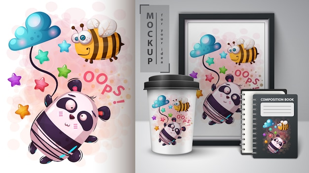Bee and panda - movckup for your idea Premium Vector