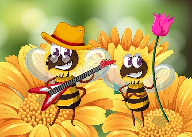Bee playing guitar on flower Free Vector