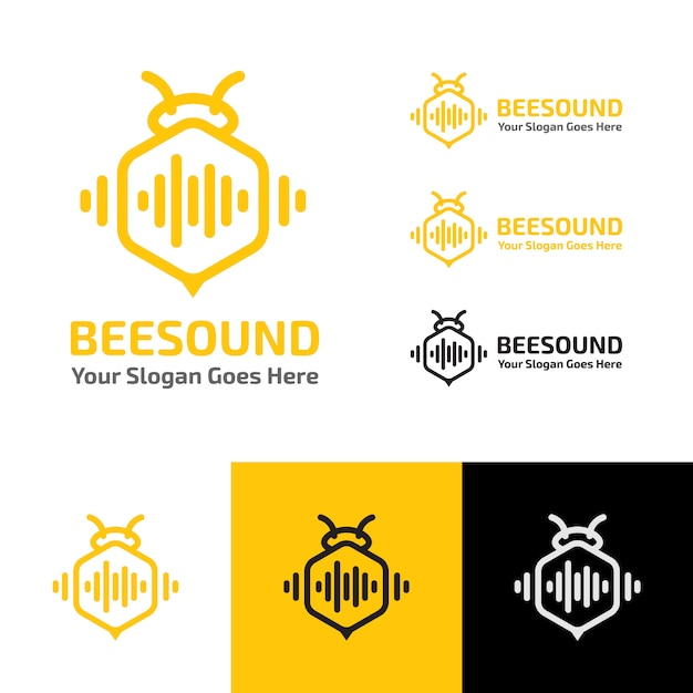 Bee sound music wave production logo template Premium Vector