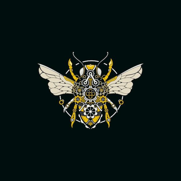 Bee steampunk illustration logo Premium Vector
