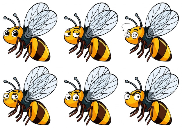 Bee with different facial expressions Free Vector