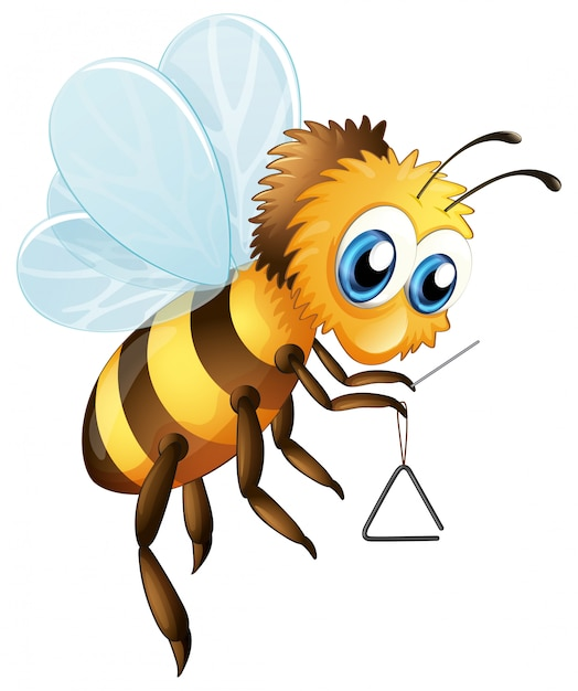 Bee with triangle musical instrument Free Vector