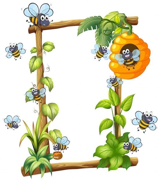 Bee on wooden frame Free Vector