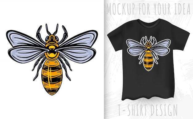 Bee. винтажный стиль изолированный Premium векторы