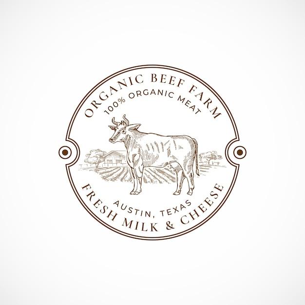Говядина и молочная ферма в рамке ретро значок или шаблон логотипа. Бесплатные векторы