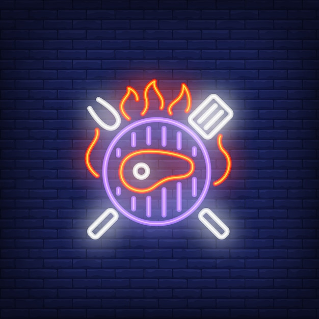 Beef steak on barbeque grill neon sign Free Vector