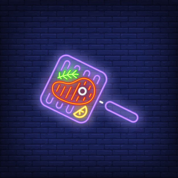 Beef steak on grill with rosemary pan neon sign Free Vector