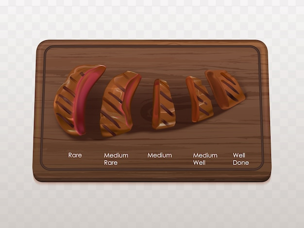 Beef steak roasts types, stages Free Vector