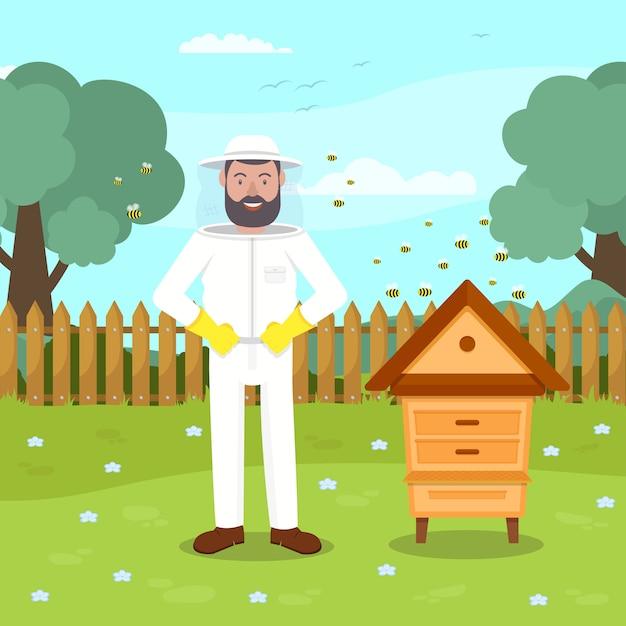 Beekeeper in protective suit stand near beehive. Premium Vector
