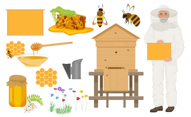 Beekeeping color icons set with man beekeeper Premium Vector