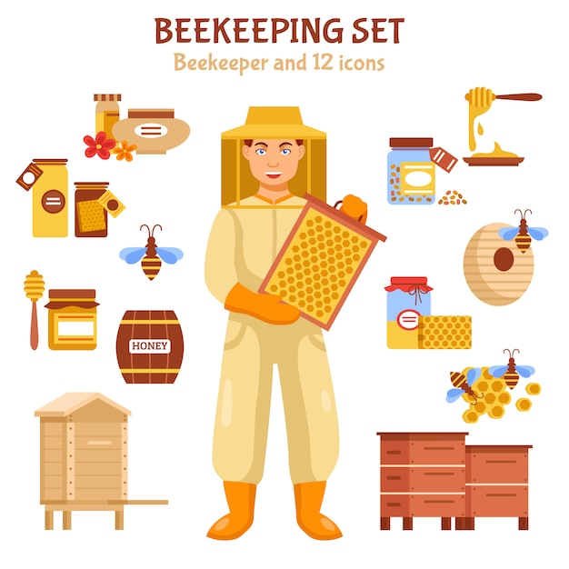 Beekeeping honey illustration icon set Free Vector