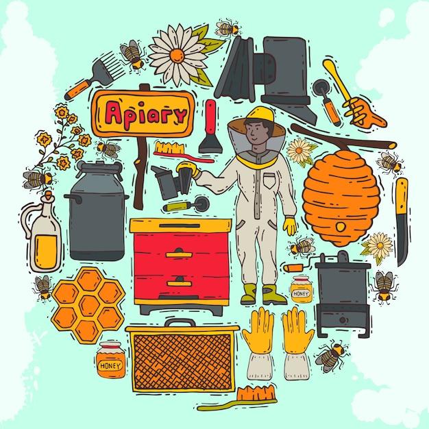 養蜂ラウンドパターン、養蜂場の図。オンライン養蜂コース。養蜂ワークショップ。養蜂ツールと機器。ハニカム、蜂の巣の蜂蜜、有機蜂蜜入りの瓶。 Premiumベクター