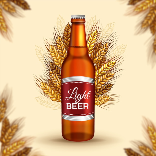 Beer ad with vintage illustration Free Vector
