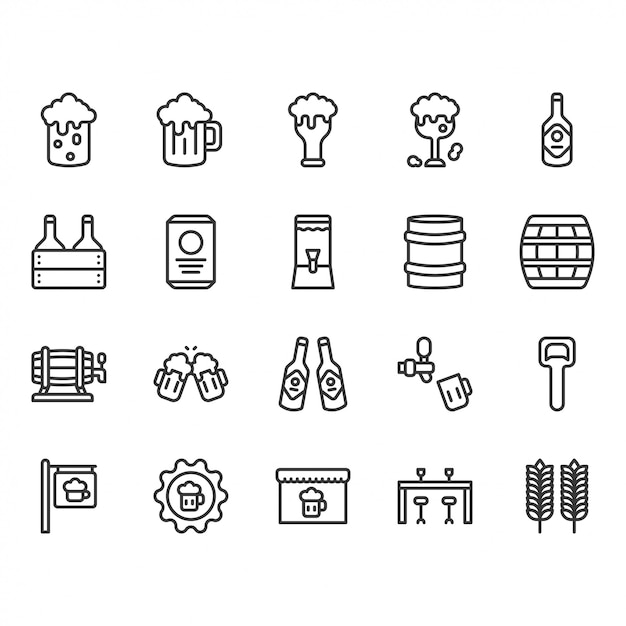 Beer and alcohol related icon set Premium Vector