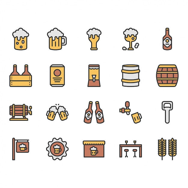 Beer and alcohol related icon and symbol set Premium Vector