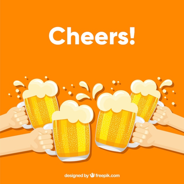 Beer background with four hands Free Vector