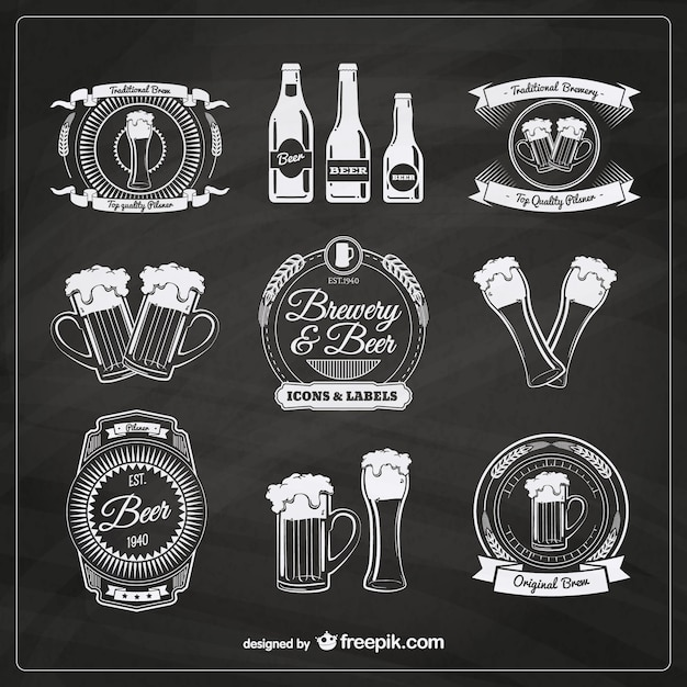 Beer badges in retro style Free Vector