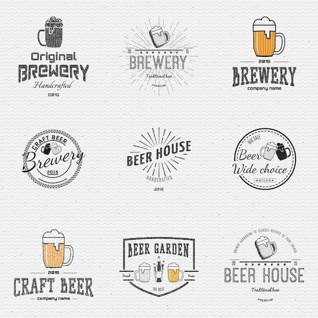 Beer badges logos and labels for any use Premium Vector