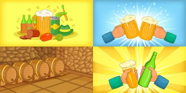 Beer banner set horizontal in cartoon style Premium Vector