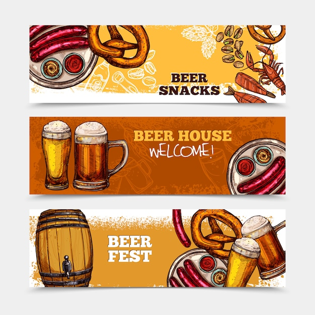 beer banner set vector free download